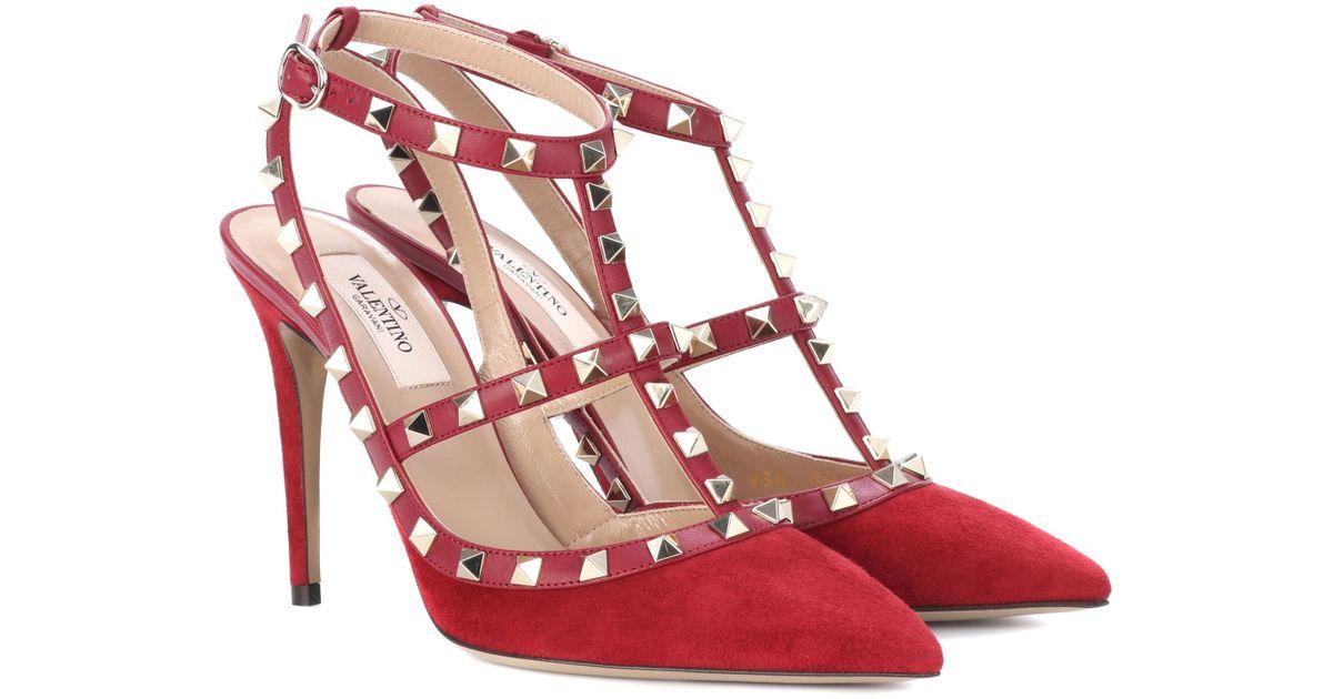 「Valentino Rockstud suede pumps red」的圖片搜尋結果