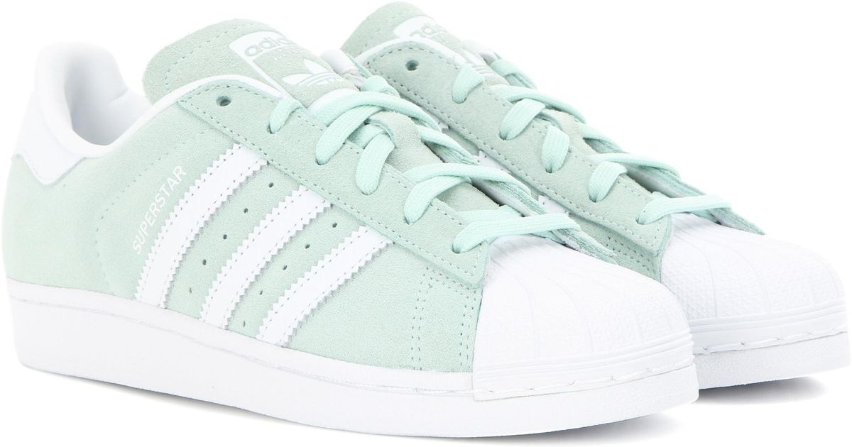 8557f7e5920f Adidas Originals Superstar Suede Sneakers in Green - Lyst