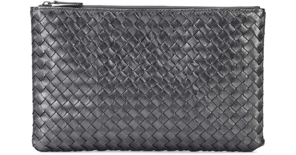 Metallic leather clutch Bottega Veneta j8OAsdd