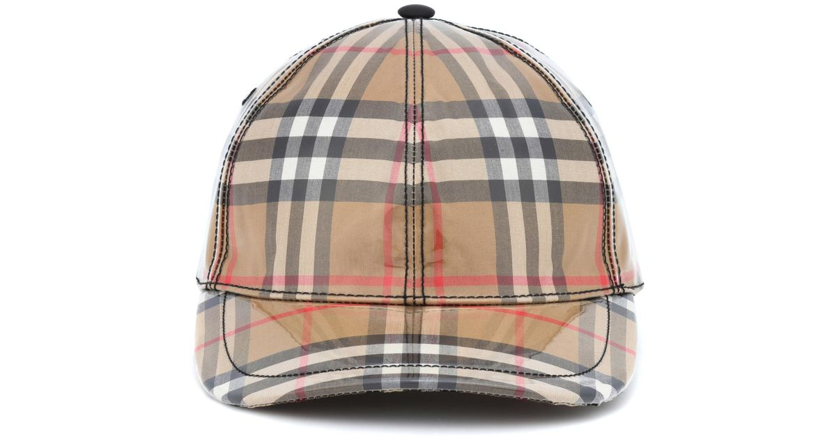 dc2376d4 Burberry Coated Checked Baseball Hat in Natural - Lyst