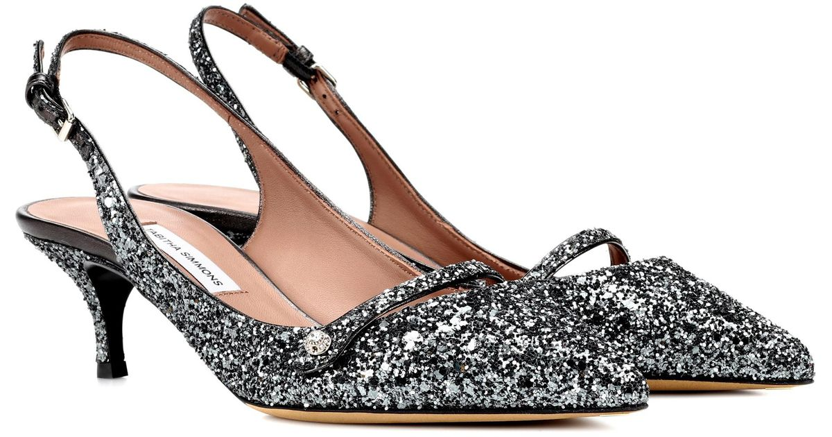 1565b6af83dd Tabitha Simmons Exclusive To Mytheresa. Com – Layton Glitter Slingback Pumps  in Gray - Lyst