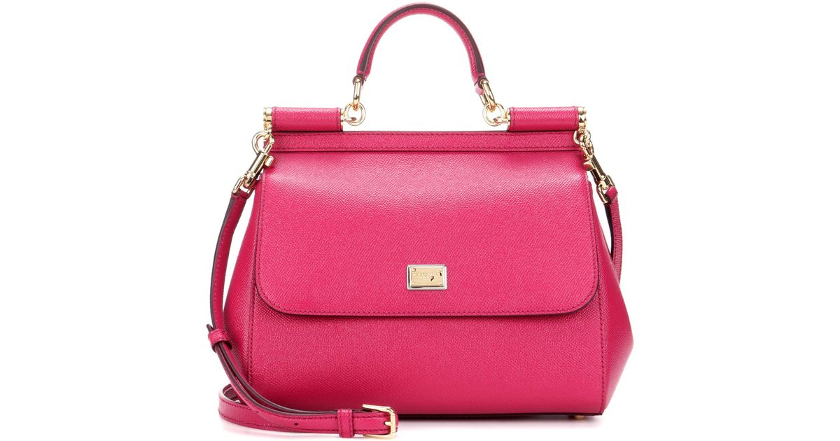Lyst - Dolce   Gabbana Sicily Medium Leather Shoulder Bag in Pink 7f5f463510ee0