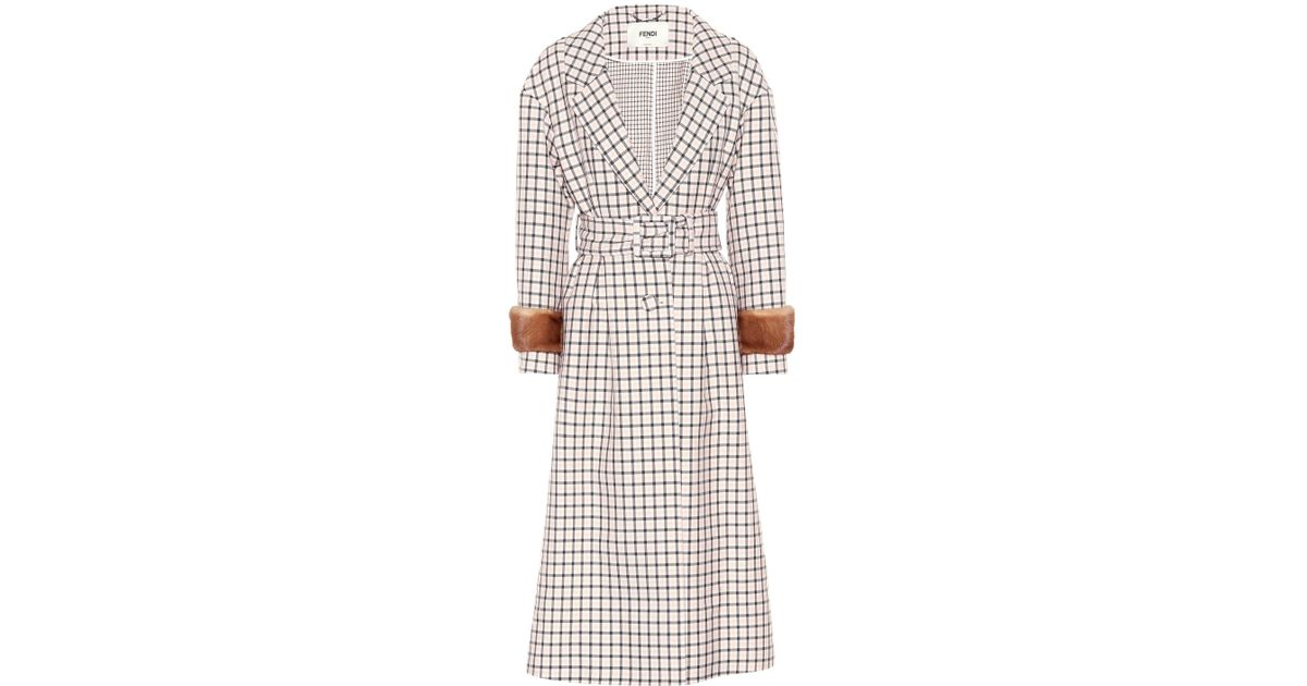 854997f55ea Fendi Fur-trimmed Plaid Wool Coat in Pink - Lyst