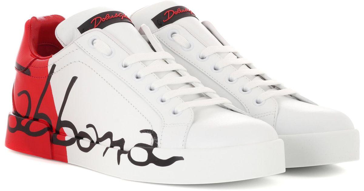 Lyst - Baskets en cuir imprimé Dolce   Gabbana en coloris Blanc 67faf41d41f4