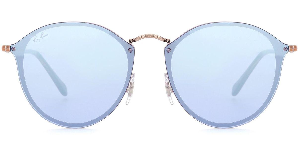 e38f5dcd4c Lyst - Ray-Ban Rb3574 Blaze Round Sunglasses in Blue