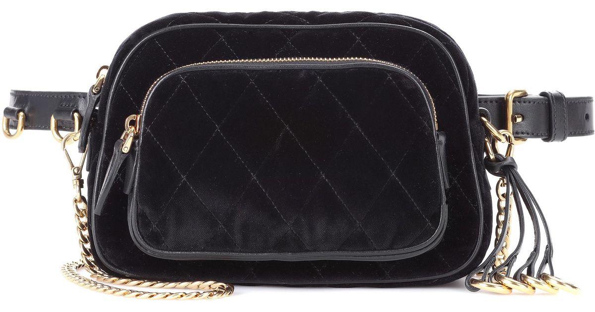 041dd22d91a0e Lyst - Prada Velvet Belt Bag in Black