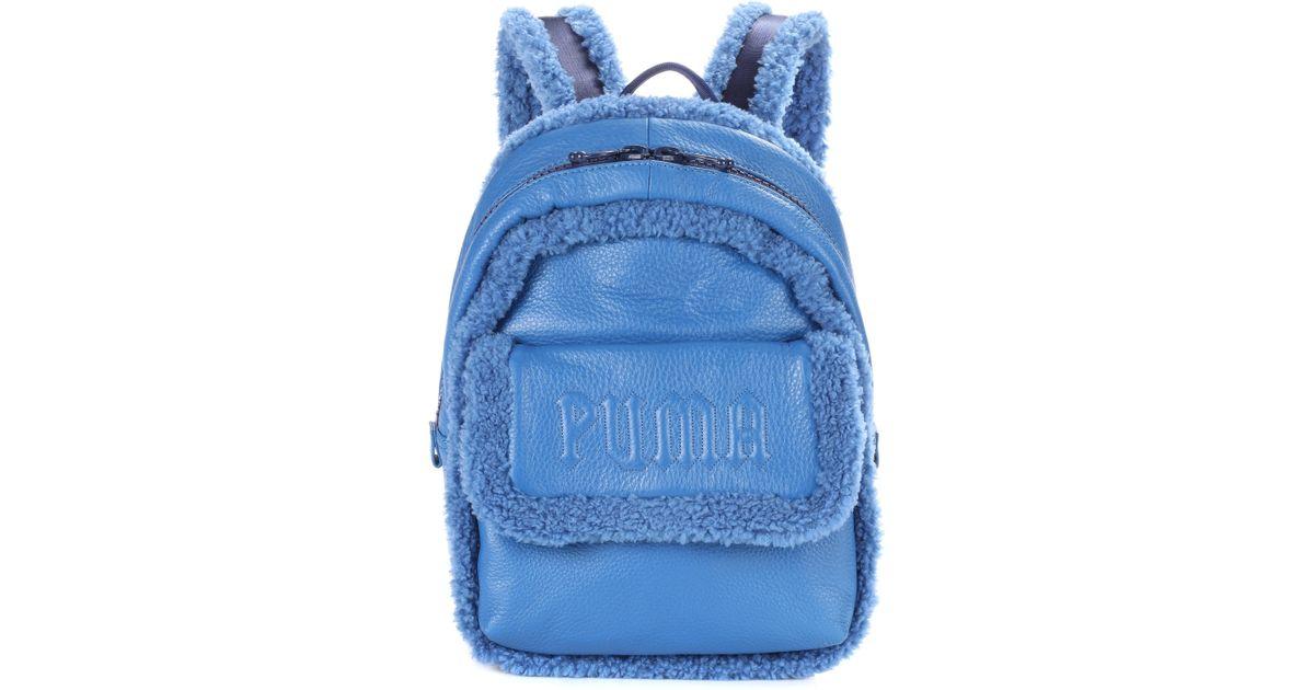 Sherpa Mini Coloris En Fourrure Cuir Bleu Et Puma Dos À Sac Lyst mfY6vbyI7g