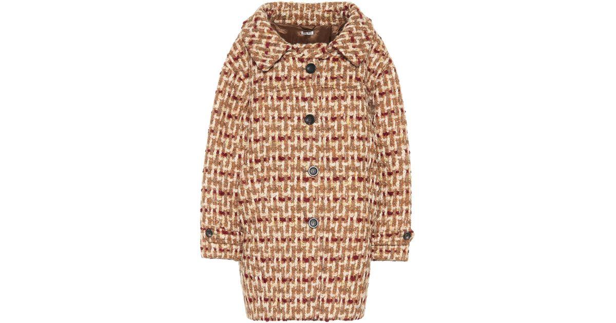 f4bc3e7439599 Miu Miu Tweed Cocoon Coat - Lyst