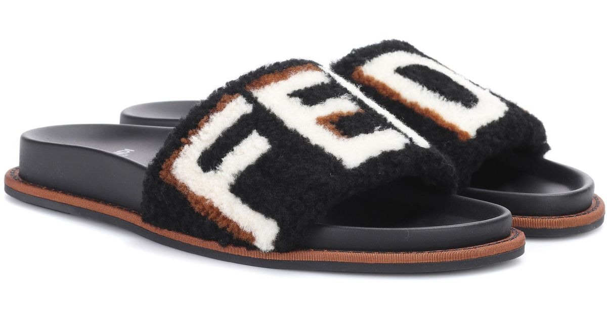 Lyst Fendi Fur Slides In Black