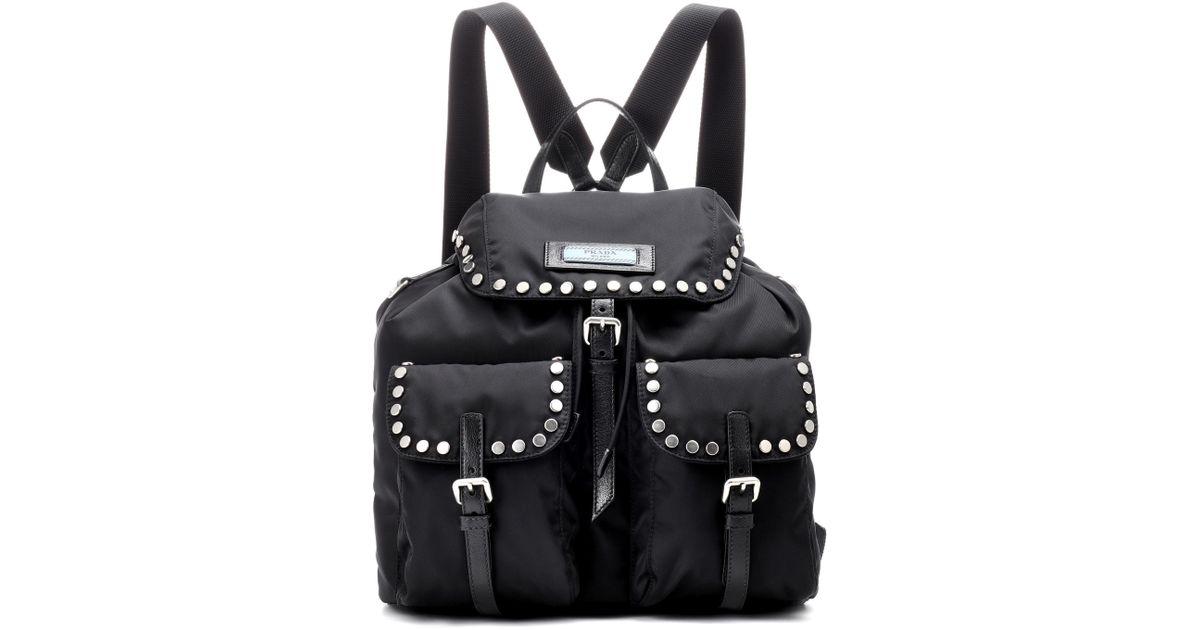 77da3cc91411 Lyst - Prada Etiquette Studded Backpack in Black