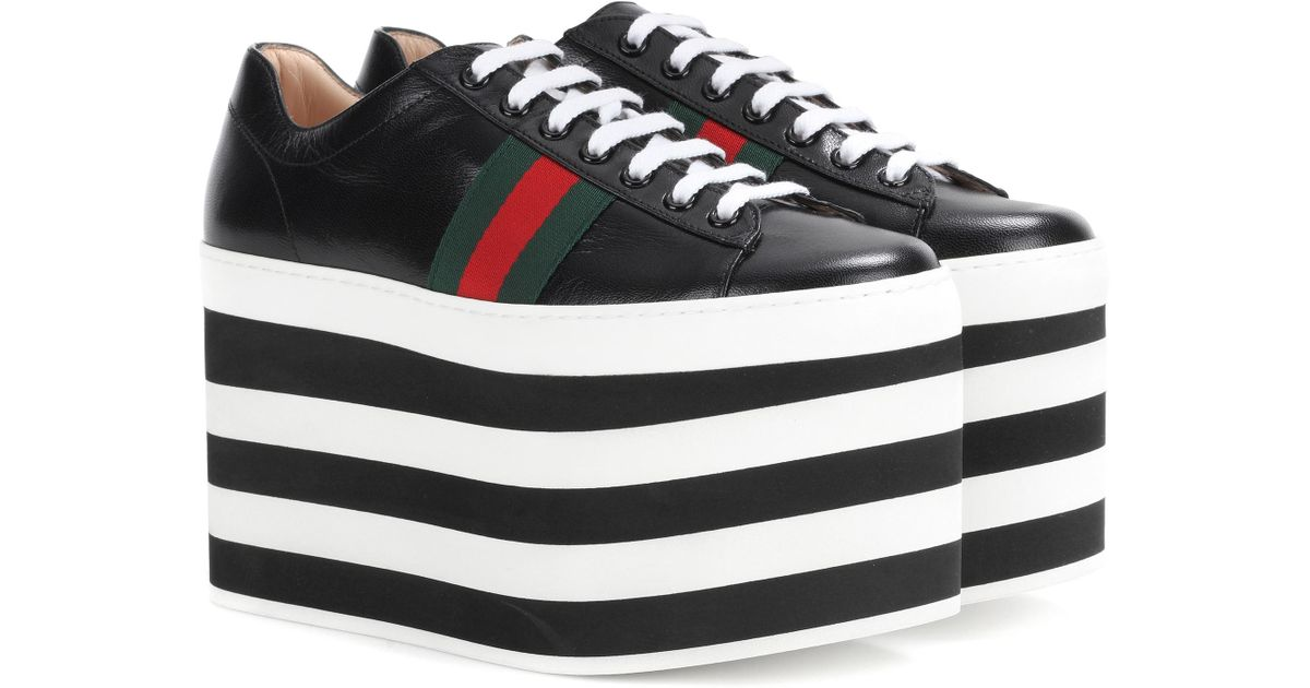 1cff2073d18f Gucci Leather Platform Sneakers in Black - Lyst