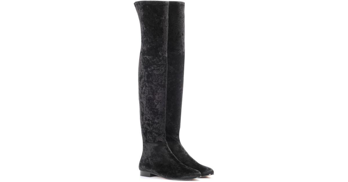 94c85c2a3e6 Lyst - Jimmy Choo Myren Flat Velvet Over-the-knee Boots in Black