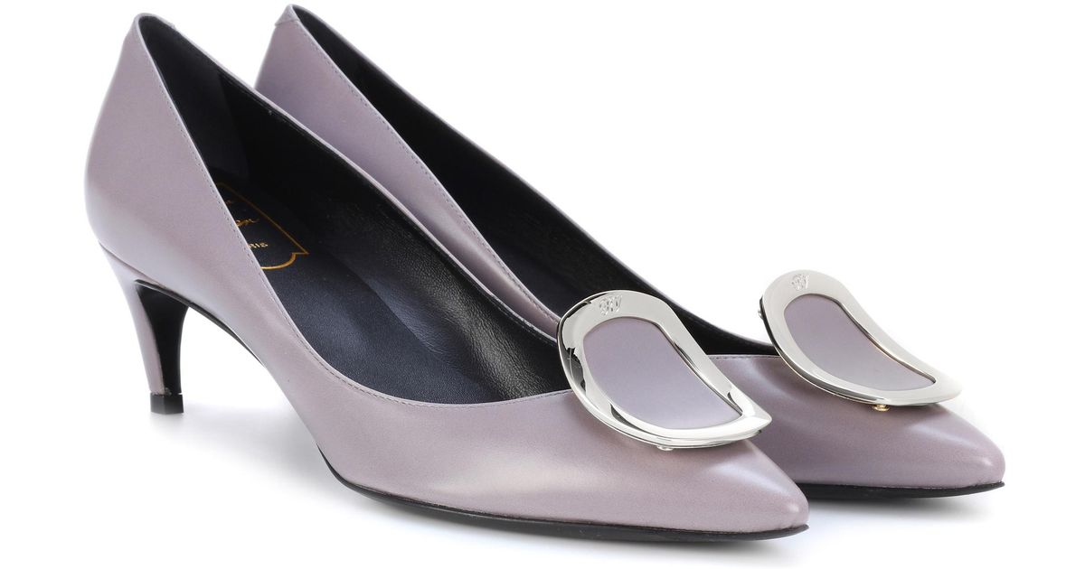 34653851466 Lyst - Roger Vivier Dorsay Sexy Choc Leather Pumps in Gray