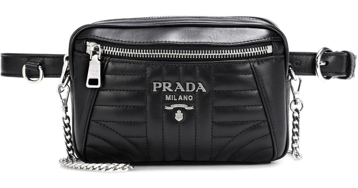 bc7d104ae50 Prada Diagramme Leather Belt Bag in Black - Lyst