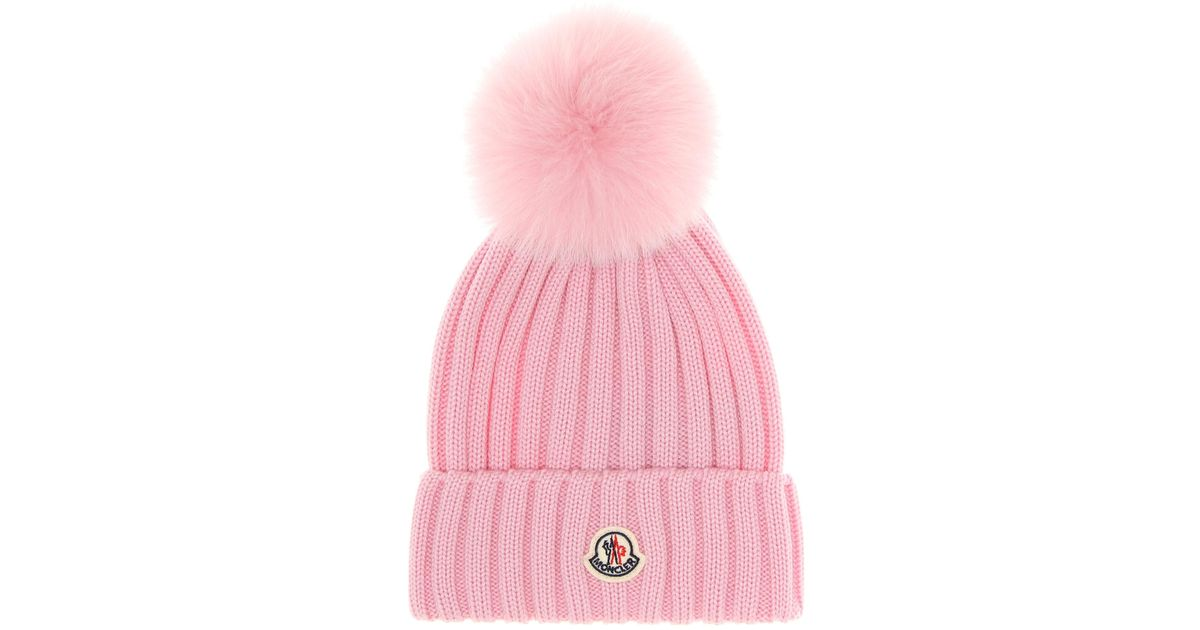 5e1f56a2e Lyst - Moncler Fur-trimmed Beanie in Pink