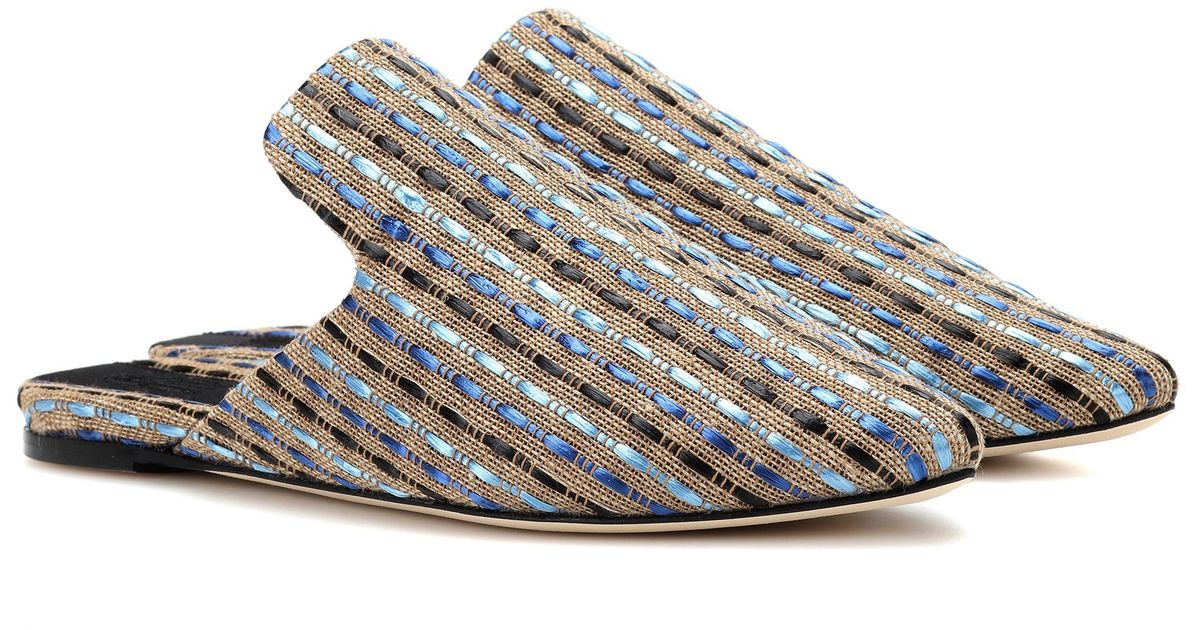 Sanayi 313 Hippolyta canvas and raffia slippers Inexpensive sale online 2GjcU