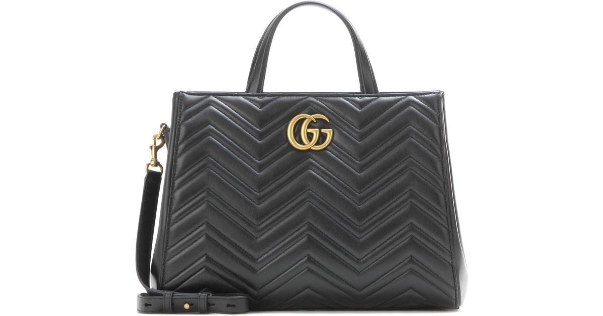 Lyst - Sac en cuir matelassé GG Marmont Gucci en coloris Noir 65bb7390a84