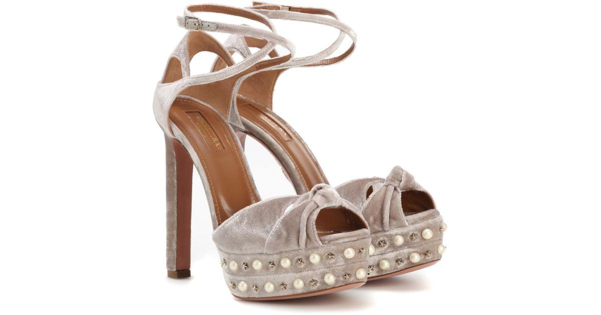 discount pre order Aquazzura Harlow Pearls 140 plateau sandals fake FGtb9A