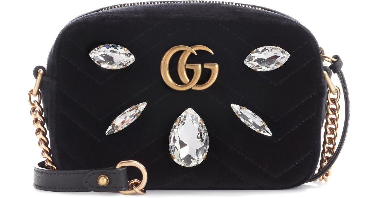 13c2d2d66cc40 Lyst - Gucci Gg Marmont Mini Velvet Crossbody Bag in Black