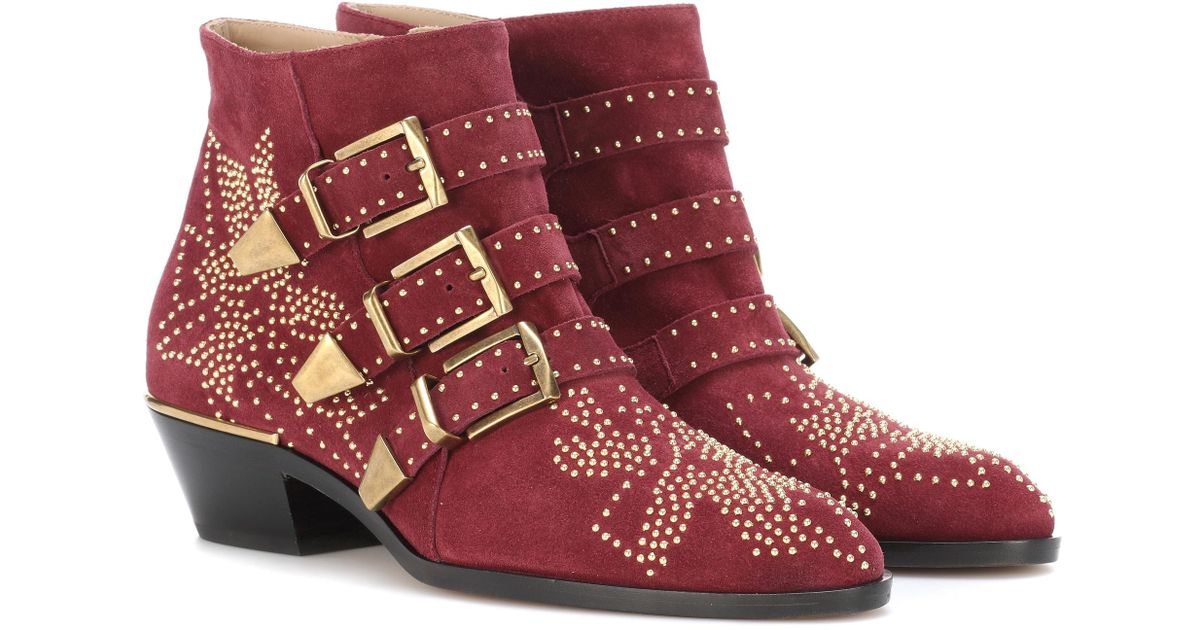 a102b7191c34 Lyst - Chloé Susanna Studded Suede Ankle Boots in Red