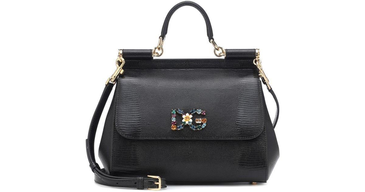 765e005d8f Lyst - Dolce   Gabbana Sicily Medium Leather Shoulder Bag in Black