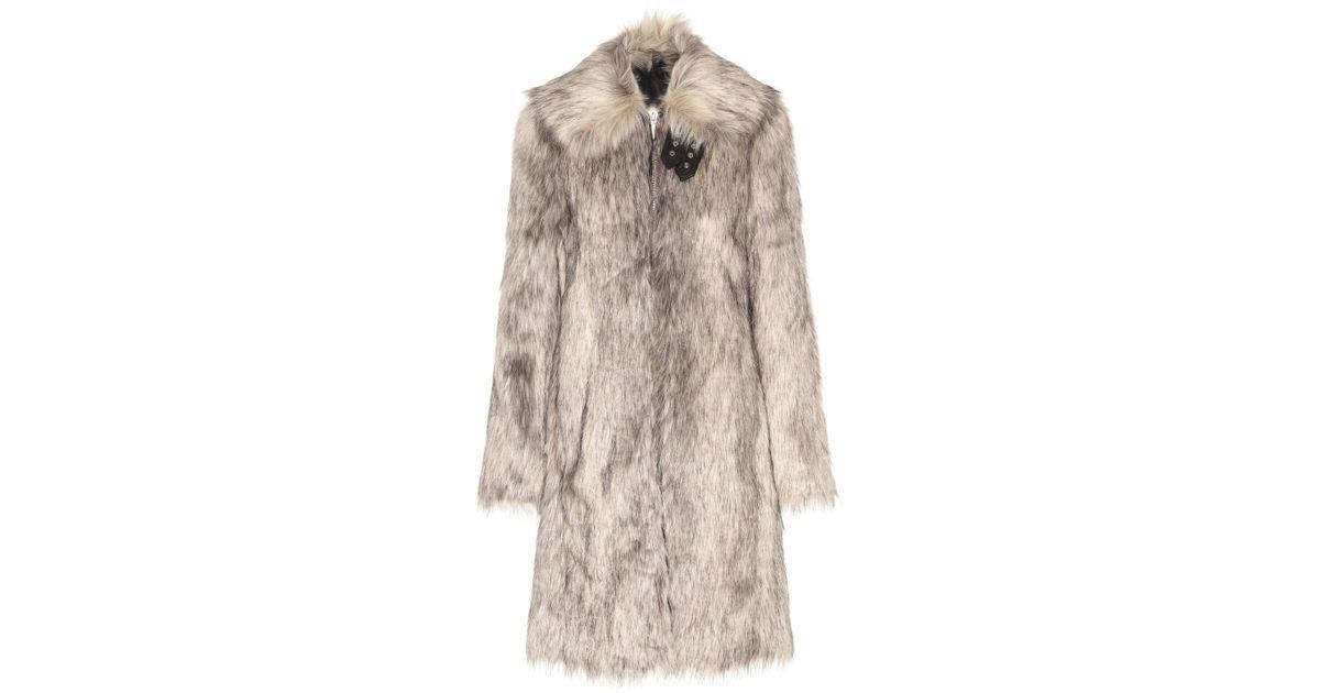 Wolf Fur Coat >> Helmut Lang Wolf Faux Fur Coat In Gray Lyst