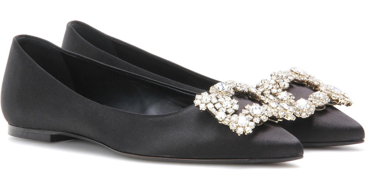 Roger VivierFlower embellished satin ballerinas