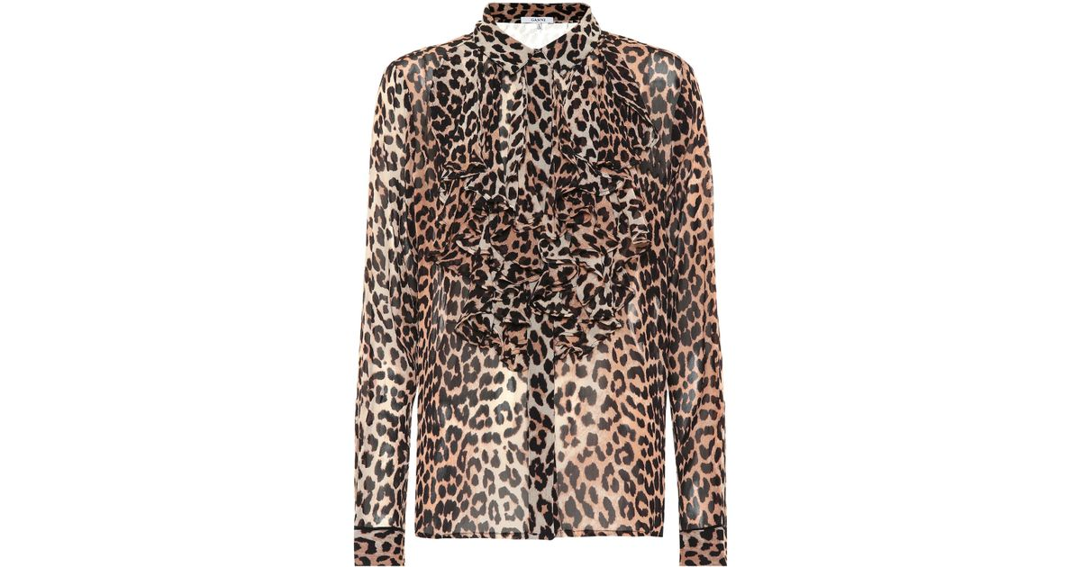 0ef8b0c1 Ganni Leopard Print Georgette Blouse - Lyst