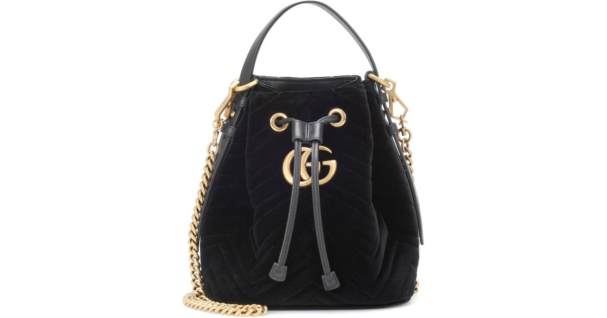 8a132d0d9522b6 Gucci GG Marmont Velvet Bucket Bag in Black - Save 4% - Lyst
