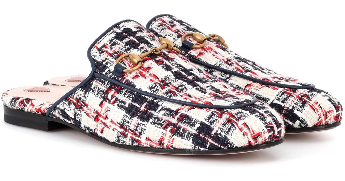 c8e4dc4c72f Lyst - Gucci Princetown Tweed Slippers