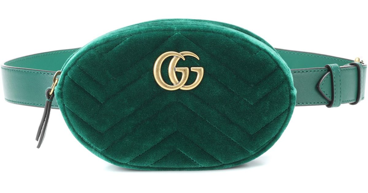 9c4649a74faa Gucci Gg Marmont Velvet And Leather Belt Bag in Green - Lyst