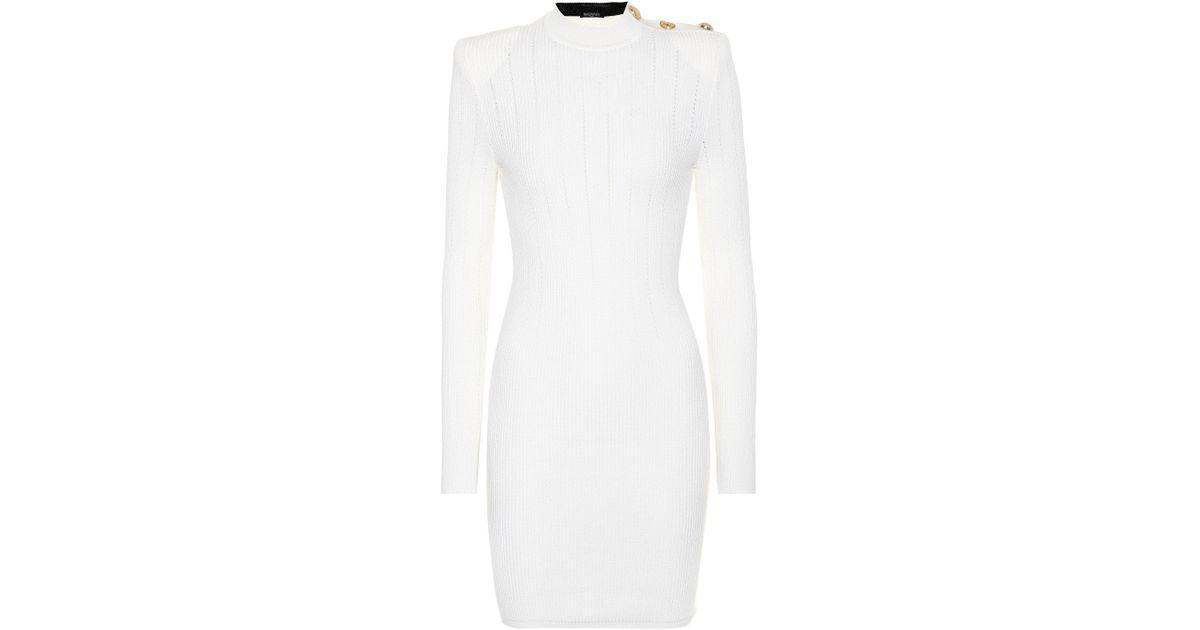 1f5c4e0ea5 Lyst - Balmain Wool Sheath Dress in White