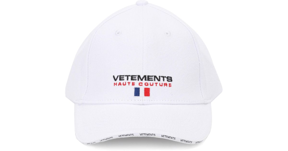 edc019e6 Vetements Embroidered Cotton Twill Cap in White - Lyst