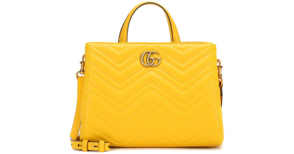 9934d5bdf725 Gucci Gg Marmont Small Matelassé Leather Tote in Yellow - Lyst
