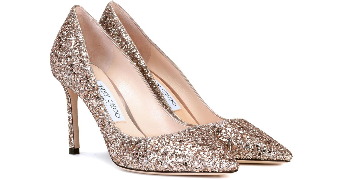 7ae67e8188b8 Lyst - Jimmy Choo Romy 85 Glitter Pumps in Metallic
