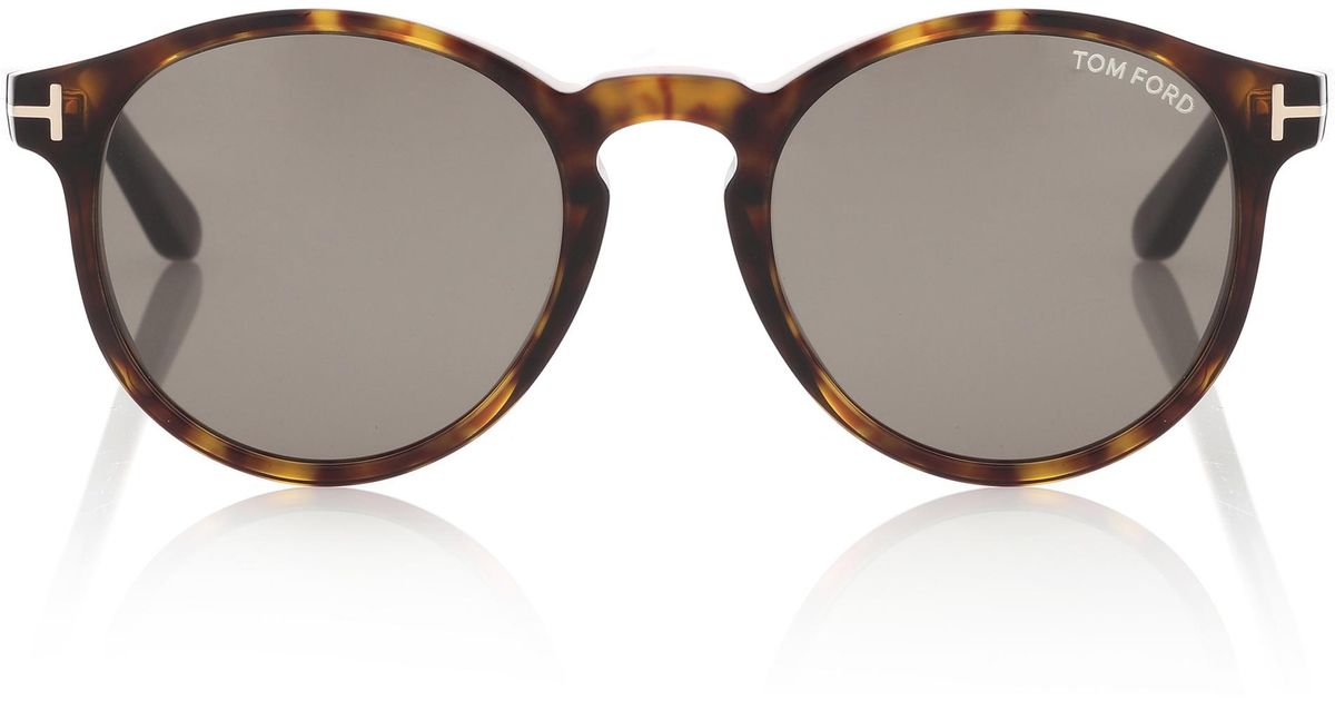 bfc63278e25c12 Lyst - Tom Ford Ian Round Sunglasses in Brown