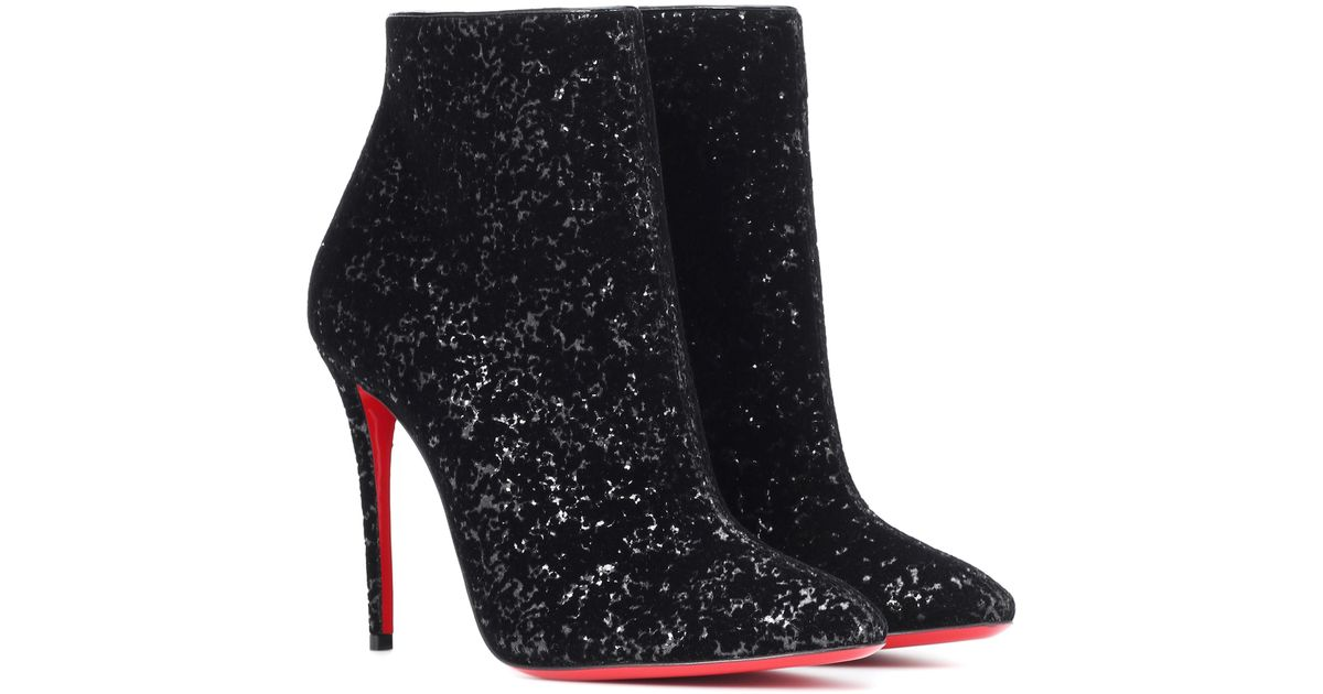 f9fb0535a888 Lyst - Christian Louboutin Eloise 100 Glitter Ankle Boots in Black