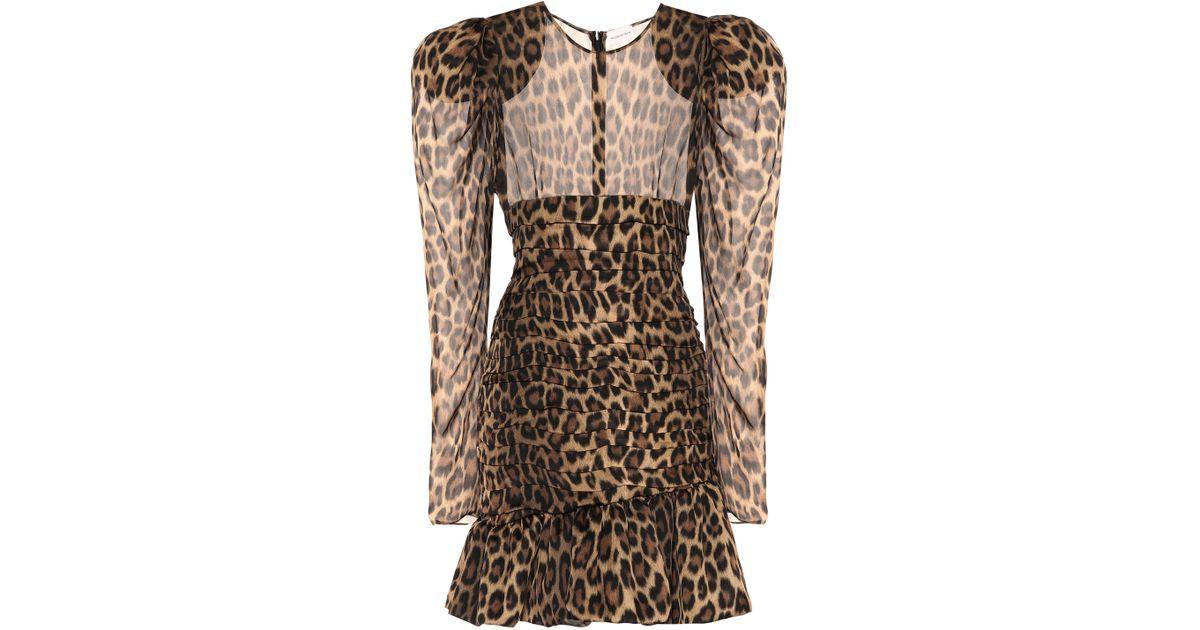 a7b8f63f0c7c Magda Butrym Borneo Leopard Silk Dress in Brown - Lyst
