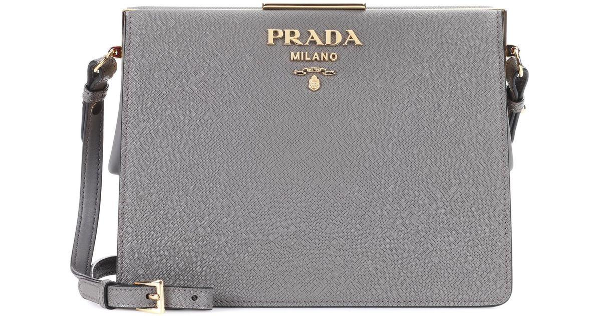 e4047e8857 Prada Exclusive To Mytheresa. Com – Saffiano Leather Shoulder Bag in Gray -  Lyst