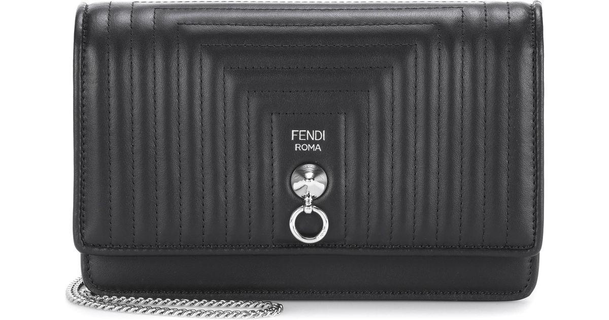 25cf3ef84b6b Lyst - Fendi Small Flap Leather Shoulder Bag in Black
