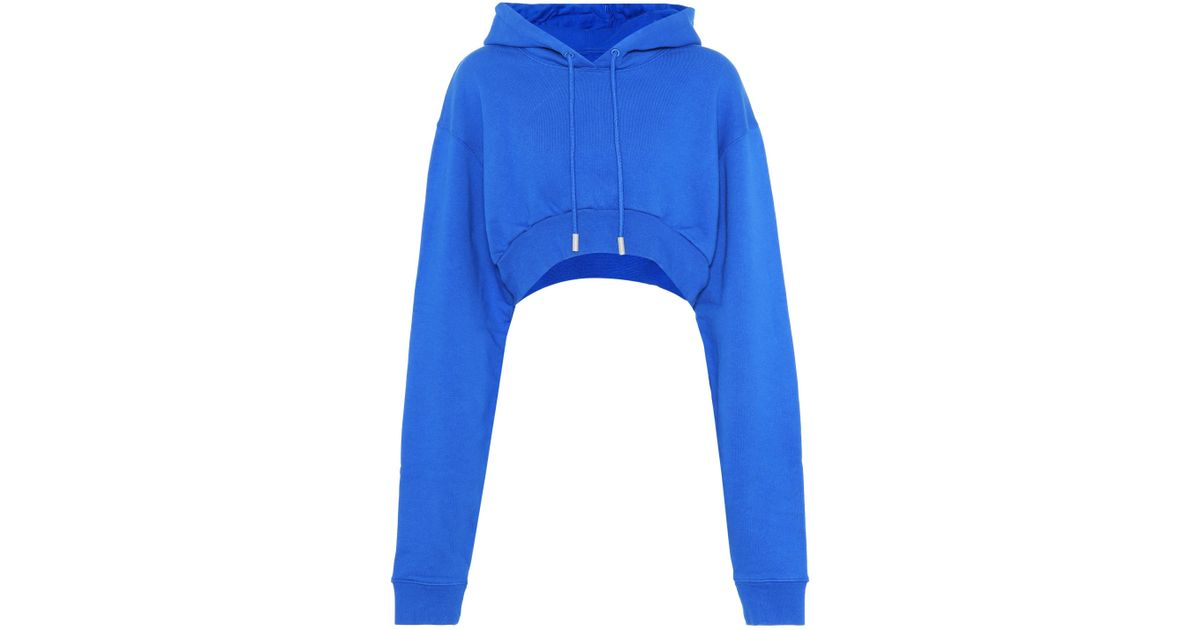 aacc28111a2c Lyst - Off-White c o Virgil Abloh Simple Cropped Cotton Hoodie in Blue
