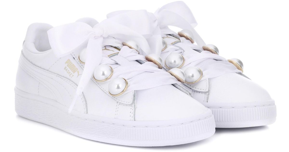 ed40b25e6ee410 Lyst - PUMA Basket Bling Leather Sneakers in White