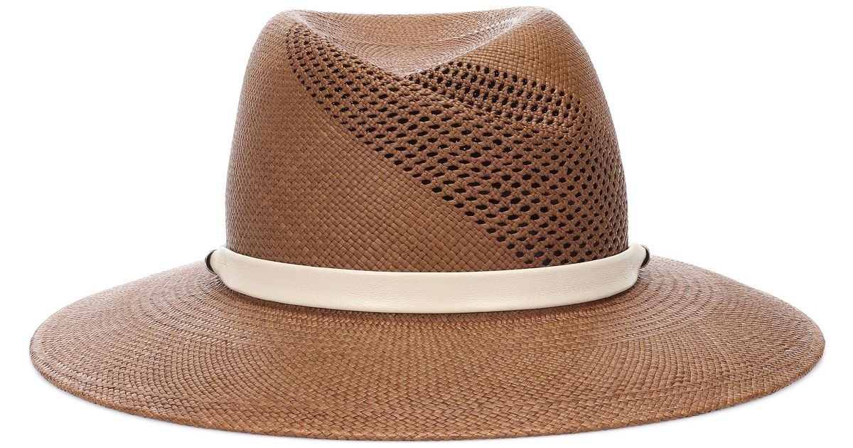 6740859a3ff Rag   Bone Zoe Leather-trimmed Straw Hat in Brown - Lyst