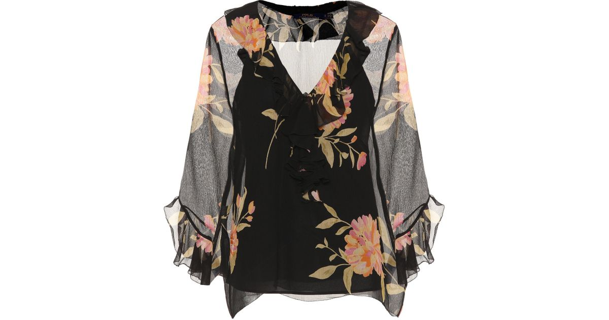 106d7cb61fe Lyst - Polo Ralph Lauren Ruffled Floral-printed Silk Blouse in Black