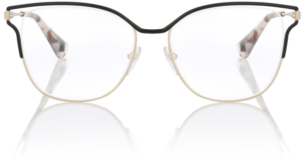 abaeabe777 Prada Metal Square Glasses in Metallic - Lyst