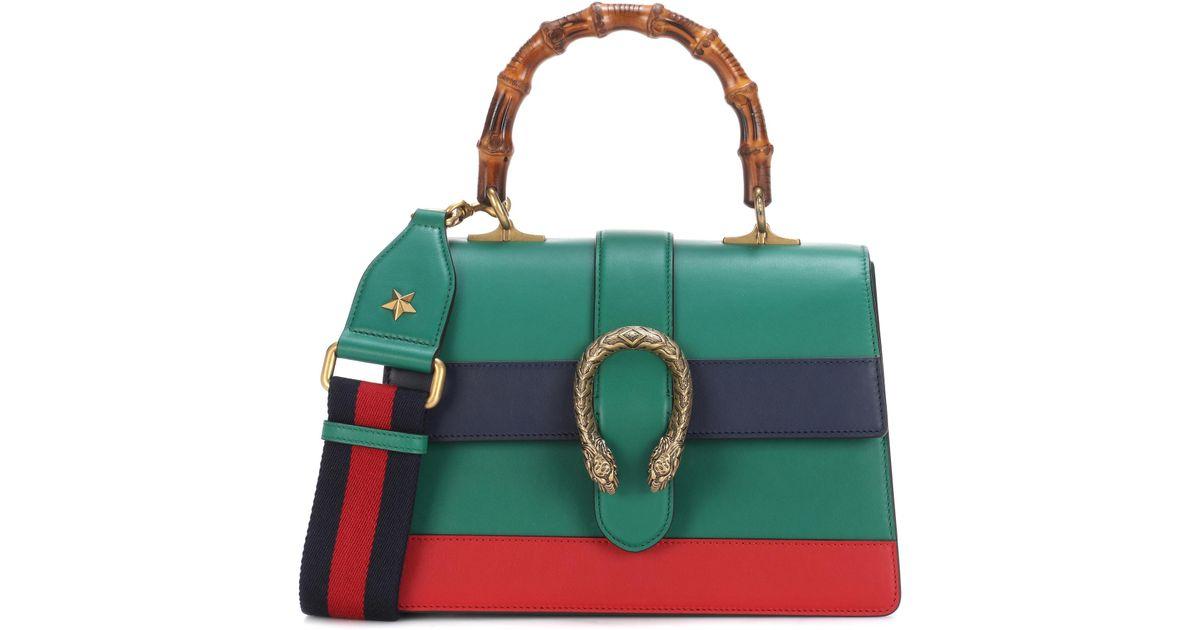 e1c6574c06f Lyst - Gucci Dionysus Bamboo Medium Leather Shoulder Bag in Green