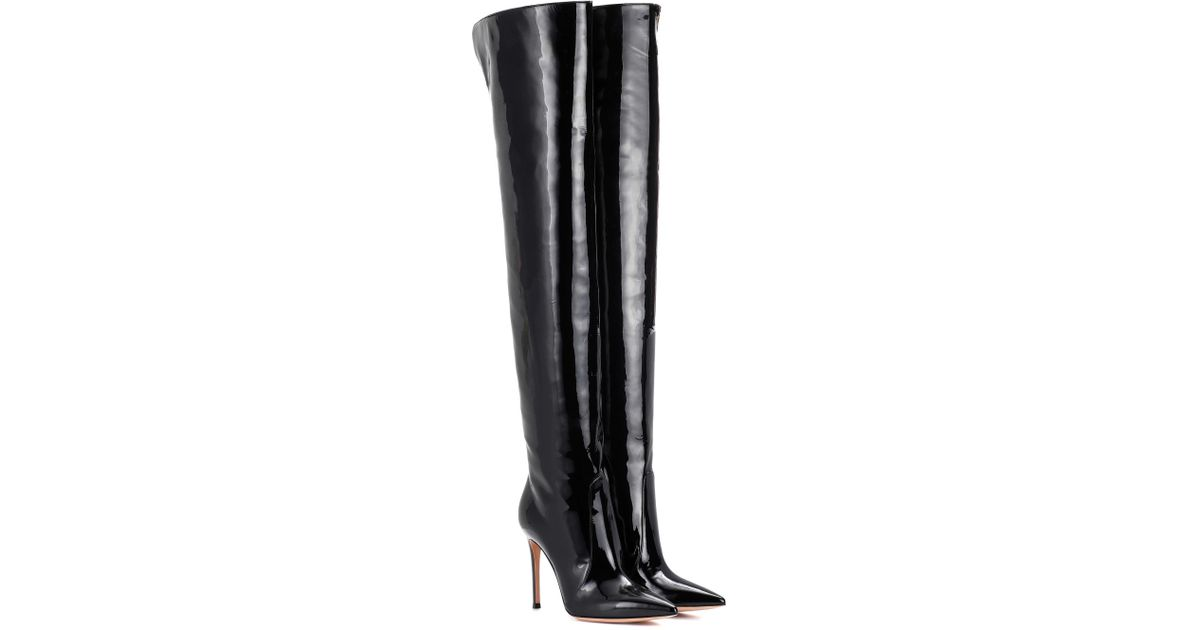 5ded47c5477 Lyst - Gianvito Rossi Rennes Leather Over-the-knee Boots in Black