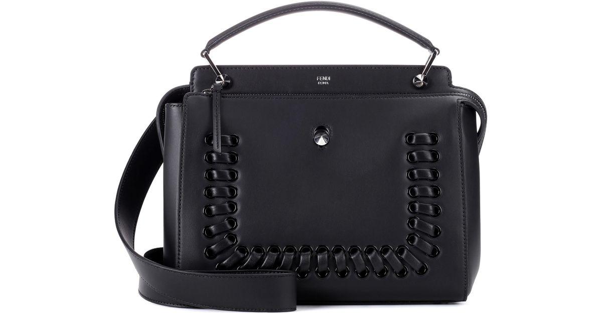 c544206d117 Lyst - Fendi Dotcom Leather Shoulder Bag in Black