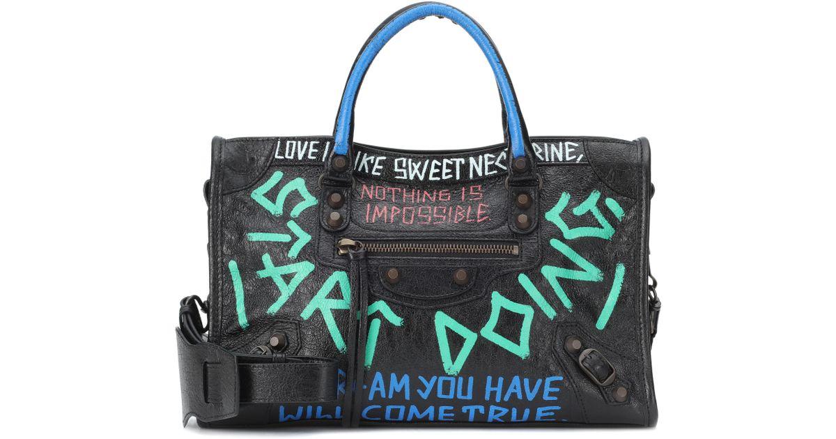 730687db15 Balenciaga Graffiti City S Leather Tote - Lyst