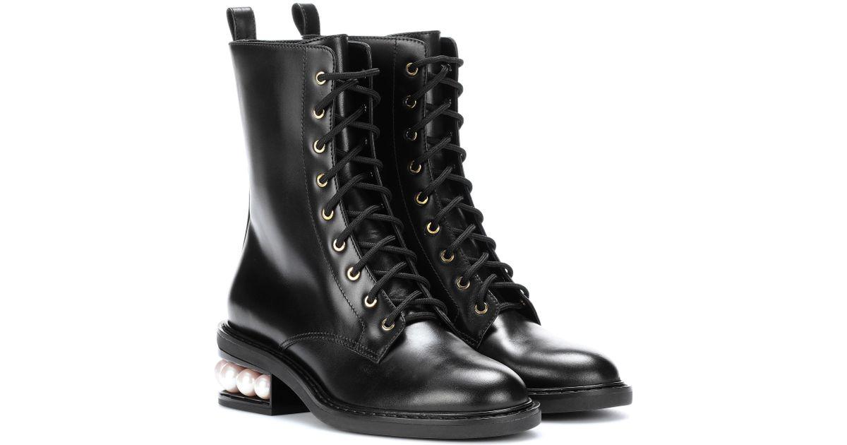 Nicholas Kirkwood Casati Pearl Leather Biker Boots nvS1xbZv